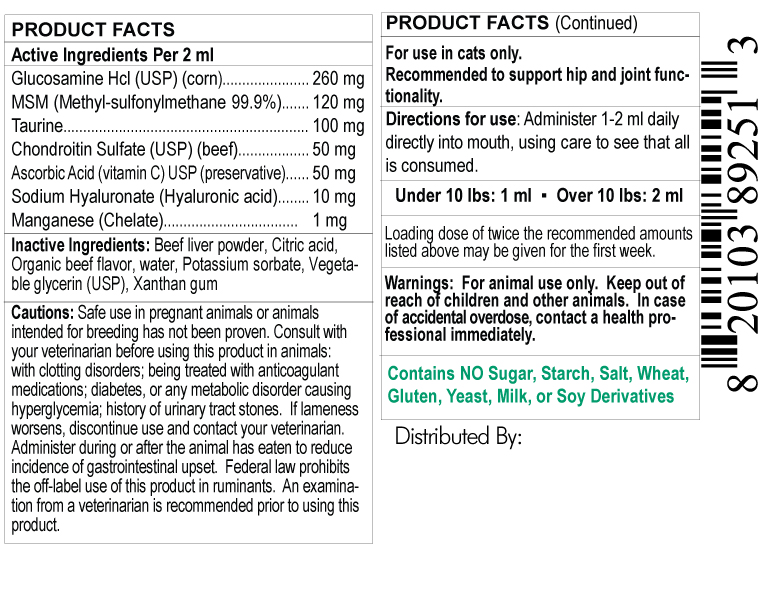 supplement facts label for cat glucosamine