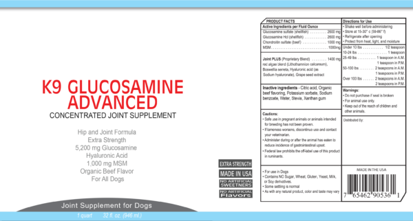 K9 Glucosamine Advanced full label