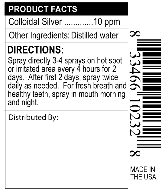 supplement facts label for pet colloidal silver