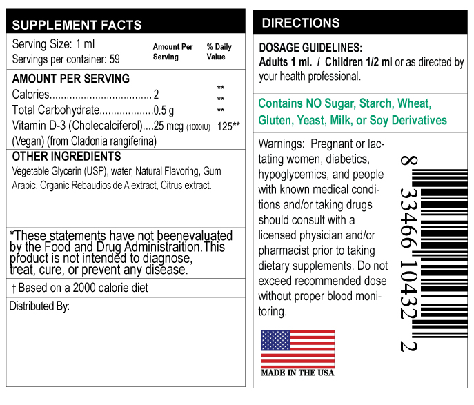 supplement facts label for vitamin D3