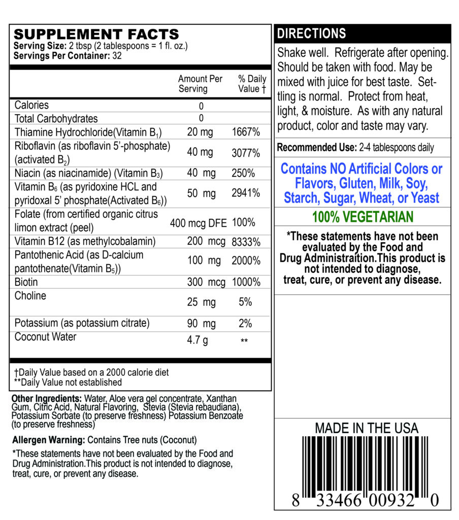 supplement facts label for vitamin b-complex Energy