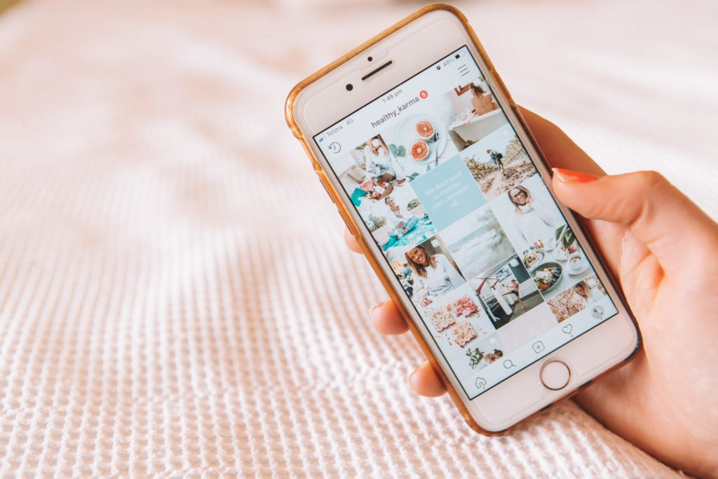 Instagram influencer account open on a phone
